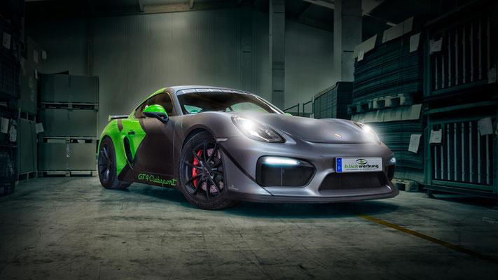 Porsche Cayman GT4 Auto Folierung, KFZ Folierung - von Weiß auf Mattschwarz, Carbon, Leuchtgrün - Blickwerbung in Crailsheim, Front Mattschwarz mit Carbon-Elementen