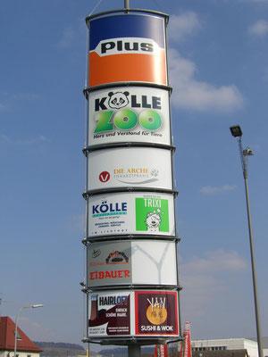 Blickwerbung Crailsheim - Pylonenwerbung, beleuchtete Pylone im Kreis Schwäbisch Hall