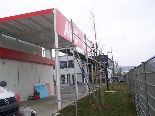 Blickwerbung Crailsheim - Werbebeschriftung, Fassadenwerbung, Hallenschild im Kreis Schwäbisch Hall