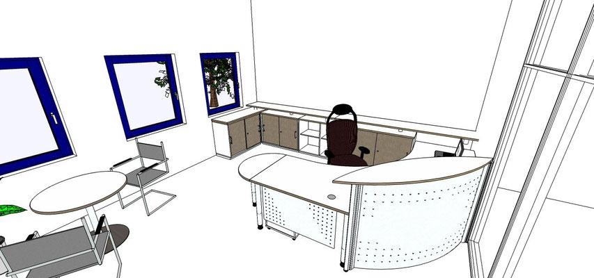 Thekenelement Parete, Schreibtischsystem Ceo