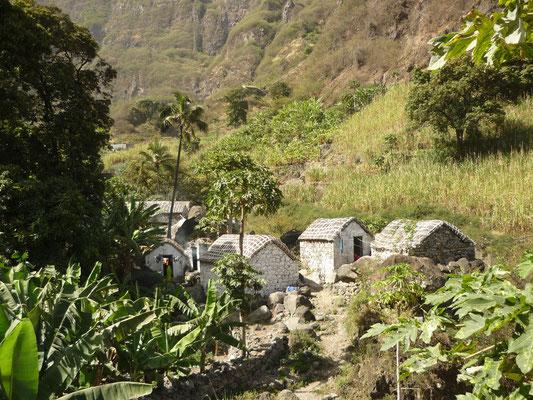 Ursprüngliche Häuser im Grünen auf Santo Antao