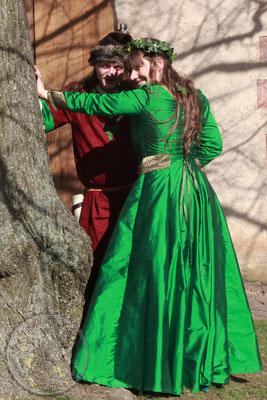 historische Hochzeit mit Brautkleid