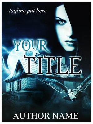 Ebook Premade Cover Nr: SPBC-24057 / 63,- € Frau Mond Kapuze Owl Eule House spooky Mystery Fantasy Buchcover