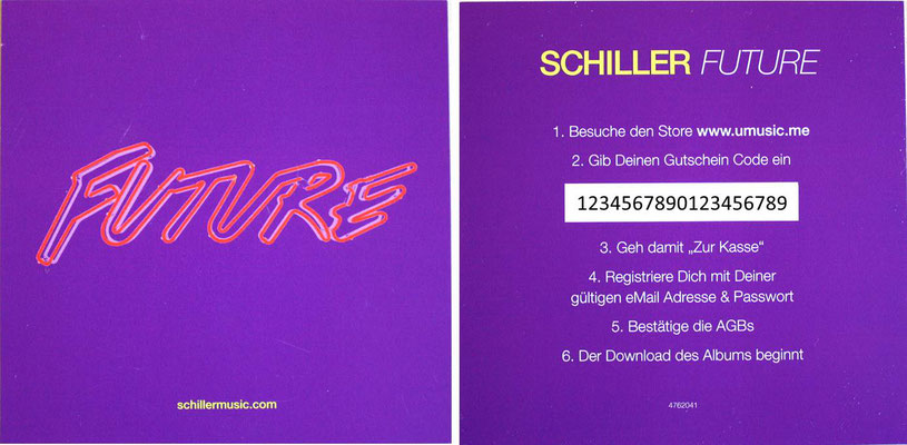 Schiller - Future 1 (GER 2016, Island Records /Sleepingroom ‎– 06025 4762041 5)