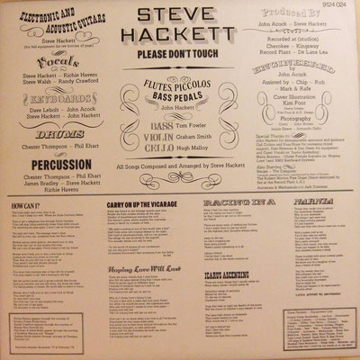 Steve Hackett - Please Don't Touch (GER 1978, Charisma /  9124 039)