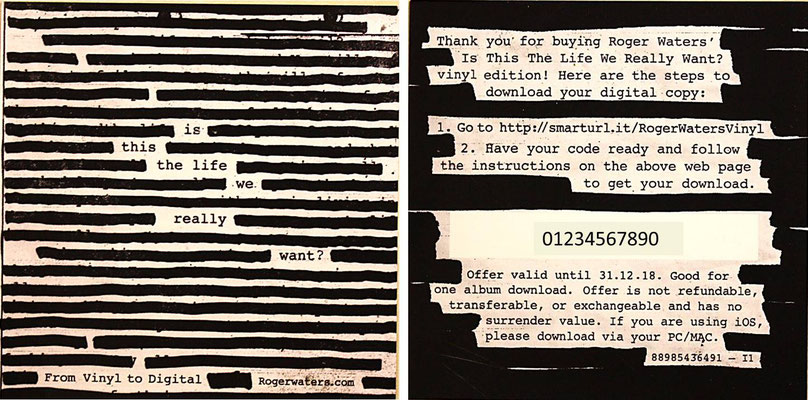 Roger Waters - Is This The Life We Really Want? (EU 2017, DoLP, GAT, Columbia – 88985 43649 1)