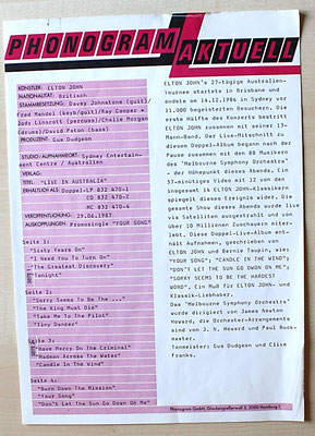 "Promo-Sheet von PHONOGRAM zum Album ""Elton-John - Live in Australia""  (GER 1987, DoLP, GAT, The Rocket Record Company ‎/ 832 470-1)"