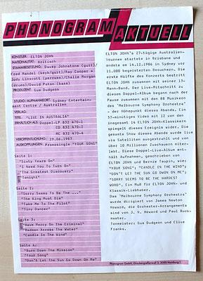 "Promo-Sheet von PHONOGRAM zum Album ""Elton-John - Live in Australia""  (GER 1987, DoLP, GAT, The Rocket Record Company / 832 470-1)"