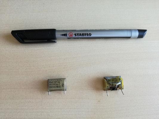 Neuer und alter Funkentstörkondensator