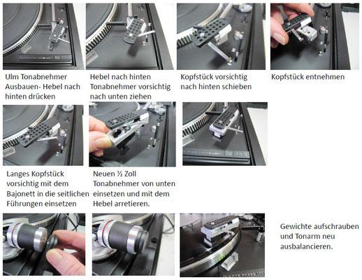 Schritt-für-Schritt-Anleitung der Montage des Umbausatz (Tonkopf und Gewichte) am Tonarm