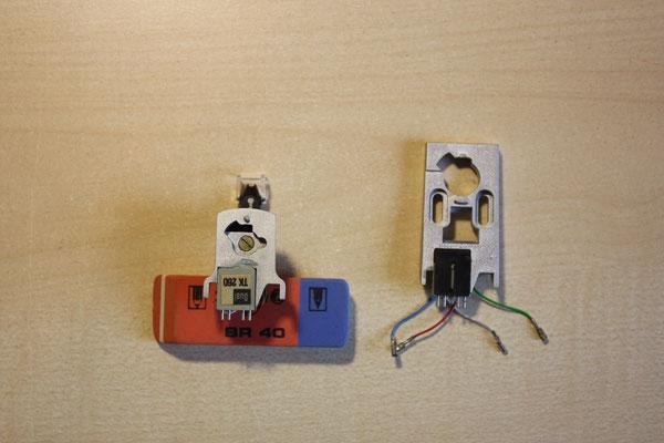 hier die beiden Trägerplatten im Vergleich (links die Trägerplatte TK260 für das ULM60E-System), rechts die Trägerplatte vom Umbausatz