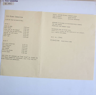 "Promo-Sheet auf dem neutralen Cover - City Blues Connection  ""I DO NOT PLAY NO ROCK'N'ROLL"", GER 1984"