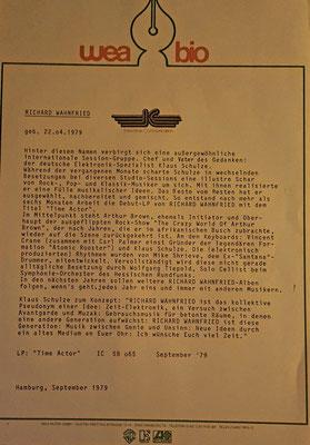 Promo-Sheet  zu Richard Wanfried - Time Actor, GER 1979