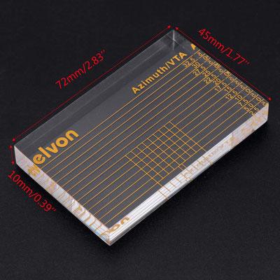 Die Maße der Azimuth/VTA-Schablone von evlon