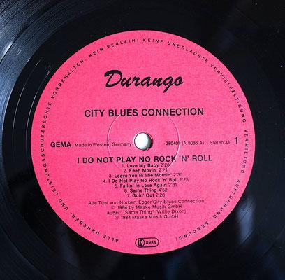 Das Platten-Etikett der Originalausgabe (GER 1984, Durango - 250 401)