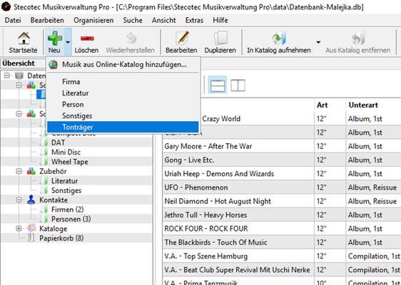 Aufruf der Erfassungsmaske für die Tonträger-Daten
