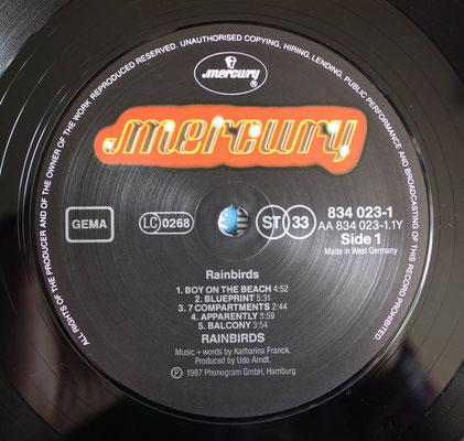 Schallplatten-Etikett (Label): Rainbird - Rainbird (1st, GER 1987, OIS, Mercury – 834 023-1)