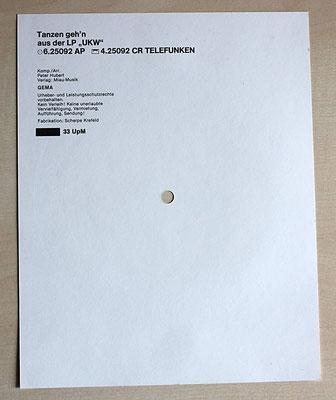 Rückseite des Promo-Sheets mit den Angaben zur Single