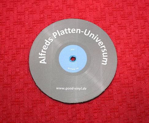 Abdeckscheibe zum Schutz des Plattenlabels bei der Platten-Reinigung mit Reinigungsflüssigkeit