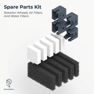 Spare Part Kits (Ersatzteilkits): Rollen, Wasserfilter, Luftfilter