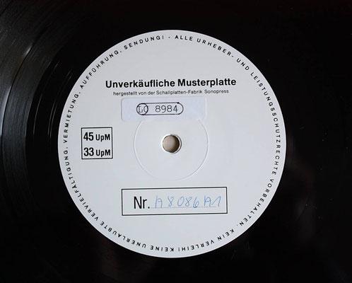 Das Platten-Etikett der Musterplatte