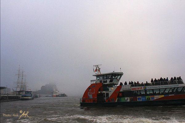 _lights in the fog_ Hamburg, Elbe - Foto: Winter 2019 (c)Anka