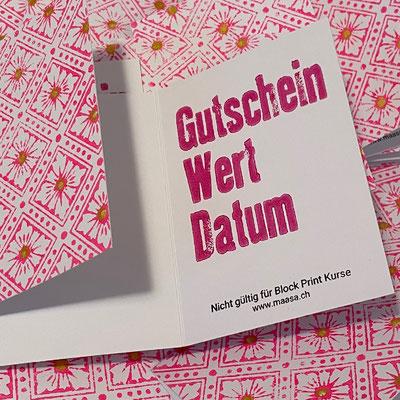 maasa Produkte Gutschein Wädenswil, Handdruck