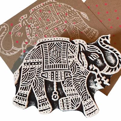 Elefant Holzstempel aus Indien für Textildruck