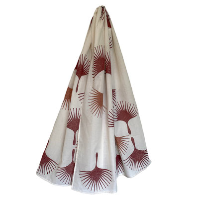 Block Print Halstuch Annik 100x160cm Bio Baumwolle, gedruckt in der Schweiz mit natürlichen Textildruck Farben