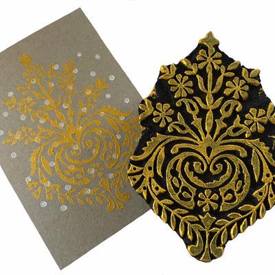 Holzstempel  für Textildruck und auf Papier.