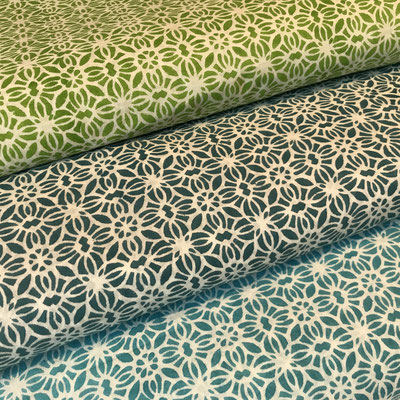 Block Print Stoff Design MILA  - 100% Cambric Baumwolle - handbedruckt in Indien mit Holz Modeln - Stempeldruck