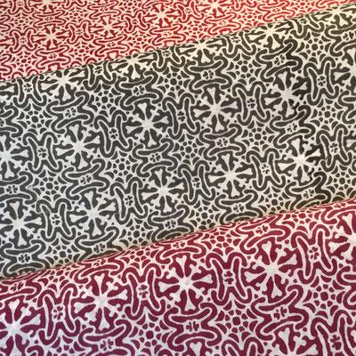 Block Print Stoff Design ELLA  - 100% Cambric Baumwolle - handbedruckt in Indien mit Holz Modeln - Stempeldruck