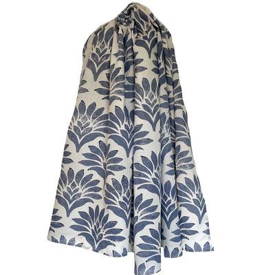 Block Print Halstuch Aretha 100x160cm Bio Baumwolle, gedruckt in der Schweiz mit natürlichen Textildruck Farben