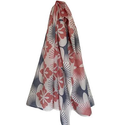 Block Print Halstuch Ladina 100x160cm Bio Baumwolle, gedruckt in der Schweiz mit natürlichen Textildruck Farben