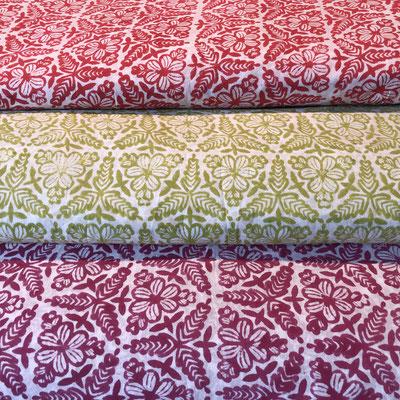 Block Print Stoffe aus Indien bestellen.  Stoffmuster Karten erhältlich für Geschäftskunden www.maasa-production.com