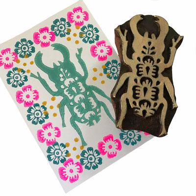 Holzstempel Käfer für Textildruck und auf Papier.