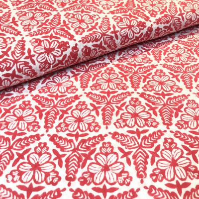 Block Print Stoff Design MANOU  - 100% Cambric Baumwolle - handbedruckt in Indien mit Holz Modeln - Stempeldruck