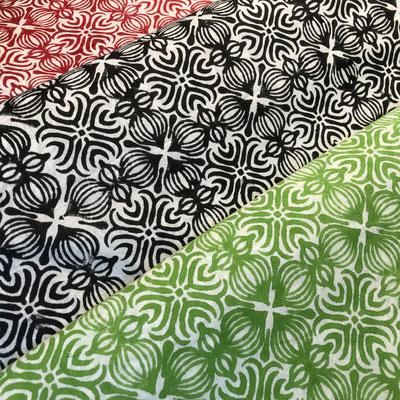 Block Print Stoff Design LENA - 100% Cambric Baumwolle - handbedruckt in Indien mit Holz Modeln - Stempeldruck