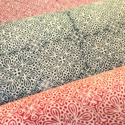 Block Print Stoff Design ANNA  - 100% Cambric Baumwolle - handbedruckt in Indien mit Holz Modeln - Stempeldruck