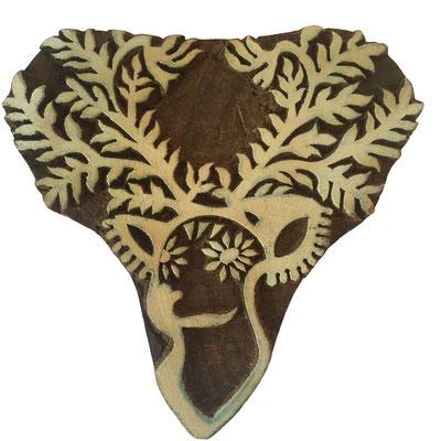 Holzstempel Hirsch für Textildruck