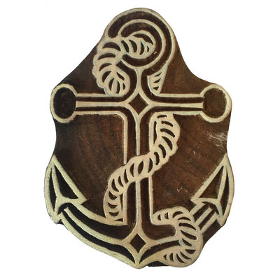 Holzstempel Anker für Textildruck