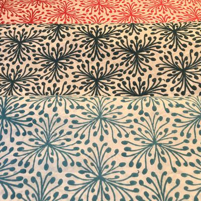 Block Print Stoff Design SINA  - 100% Cambric Baumwolle - handbedruckt in Indien mit Holz Modeln - Stempeldruck