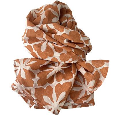 Halstuch Handbedruckt mit Naturfarben auf Bio Baumwolle - Holzstempeldruck - Block Print
