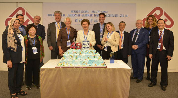 Anniversary Celebrations (L-R: L. Mohamedein, A. Deidun, L. Qin, A. Gutierrez, L. Hildebrand, A. Coady, M. Faghfouri, P. Leder, A. Vassallo, C. Thia Eng, I. Oliounine, R. Cardebring, B. Mao)