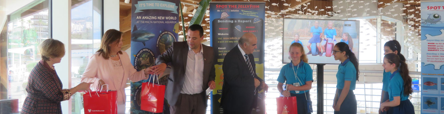 IOI MALTA: Director Alan Deidun, H.E. the President of Malta and a representative from the Malta Tourism Authority and local environmental NGOs at the Malta National Aquarium