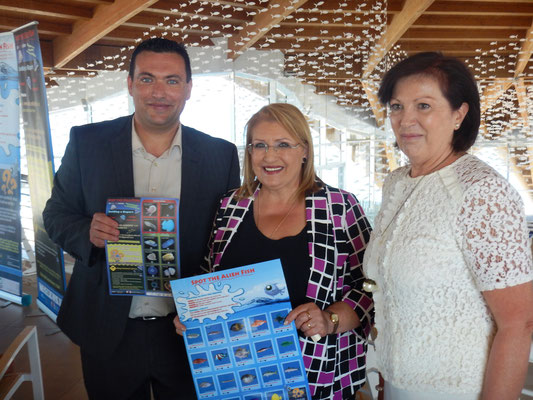 IOI MALTA: Director Alan Deidun, H.E the President of Malta, and Representative from Malta Tourism Authority at the Malta National Aquarium