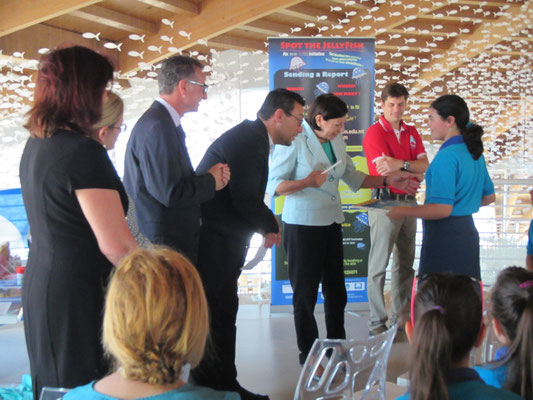 IOI MALTA: Award presentation to one of the winning student projects by HE The Agent President