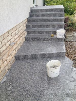 Treppenanlage Granit Rosa Beta