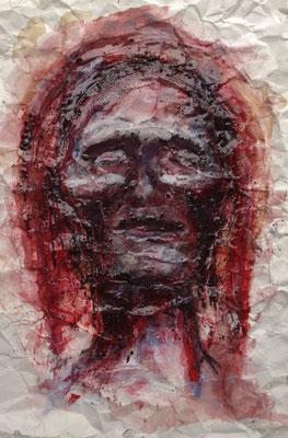 Lechos, 2016, Acrylbinder, Pigmente, Tuschen u.a. auf Papier, 59 x 42 cm
