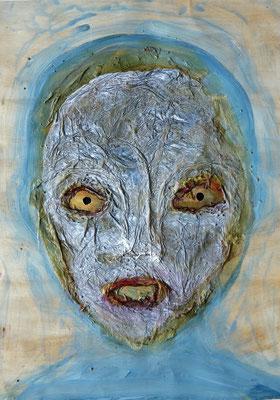 Exweltner, 2016, Acrylbinder, Pigmente, Tuschen ua.a. auf Papier, 59 x 42 cm